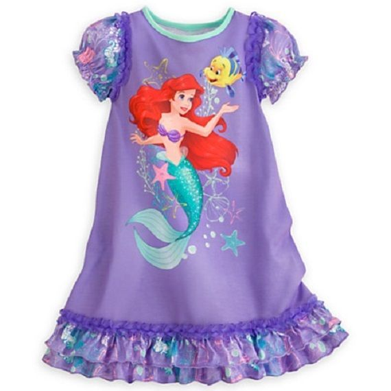 380b14d4bf Girls Ariel Little Mermaid Nightgown Pajama Dress NWT Disney Store! Size 5 6   DisneyStore  Nightgown