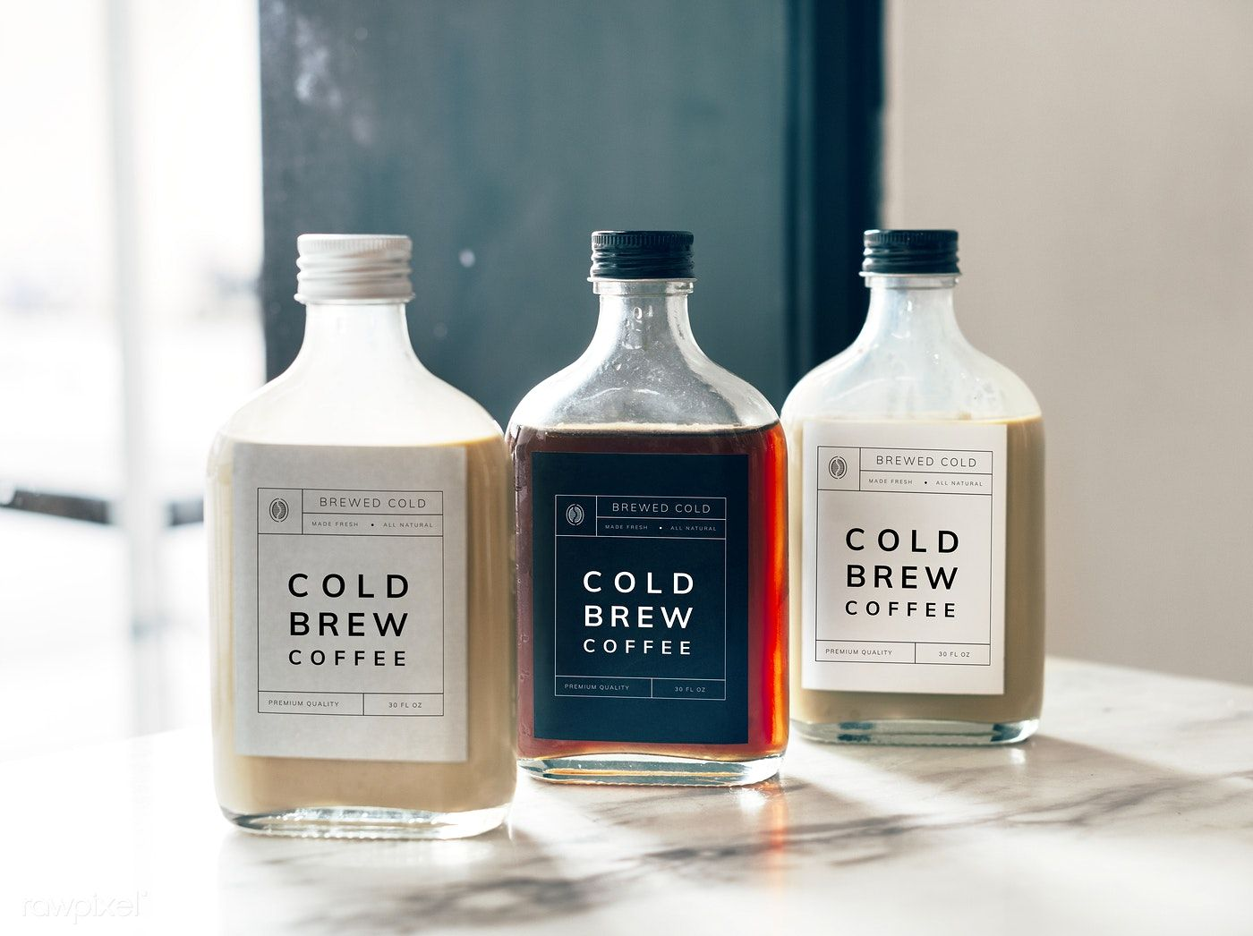 Cold brew coffee bottle mockup design free image by