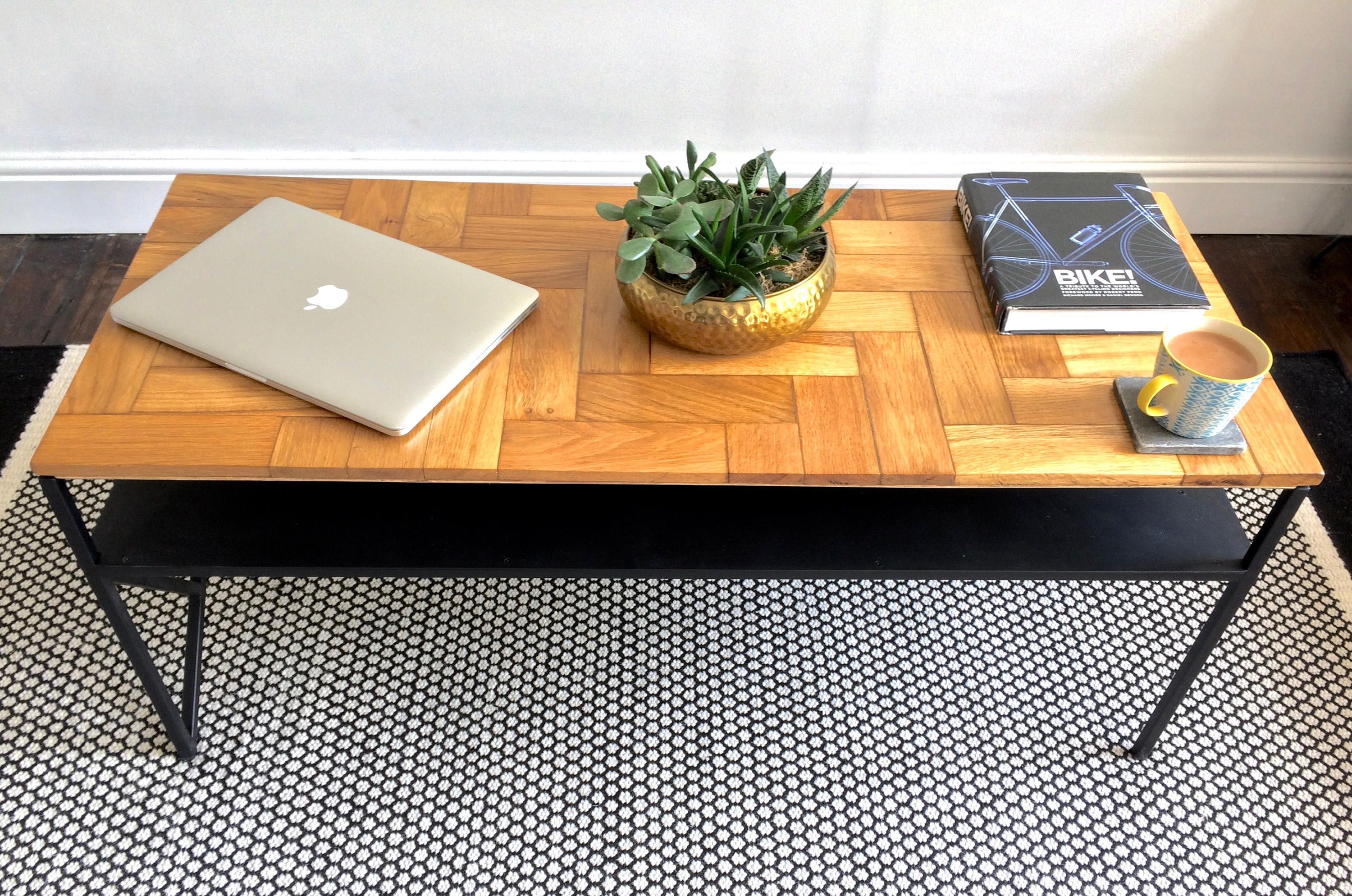 Parquet Coffee Table With Shelf Industrial Coffee Table Reclaimed