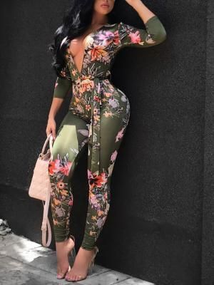 9301f3c9fde Sexy Deep V Neck Tied Waist Floral Skinny Jumpsuit in 2018