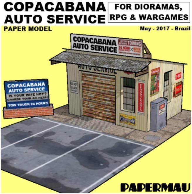 PAPERMAU: Copacabana Auto Service Paper Model For Dioramas