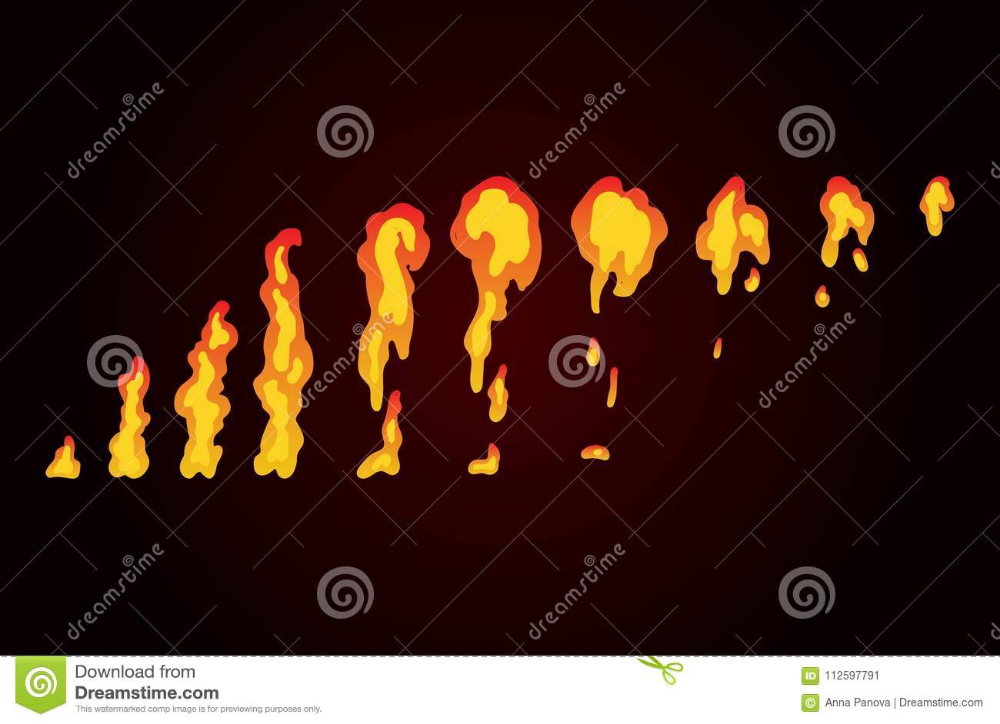 Sprite Sheet Of Fire Torch Animation For Game Or Cartoon Stock Vector Illustration Of Fire Storyboard 112 Fire Animation Animation Art Animated Drawings