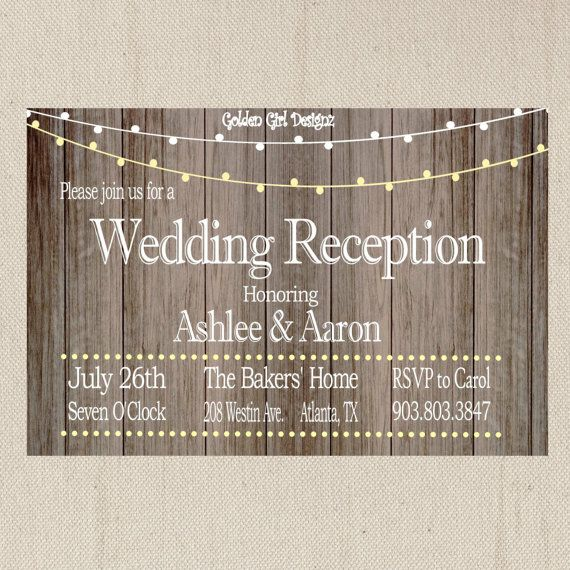 DIY Printable Vintage Lights Wedding Reception Invitation On Wooden  Background Digital File ONLY