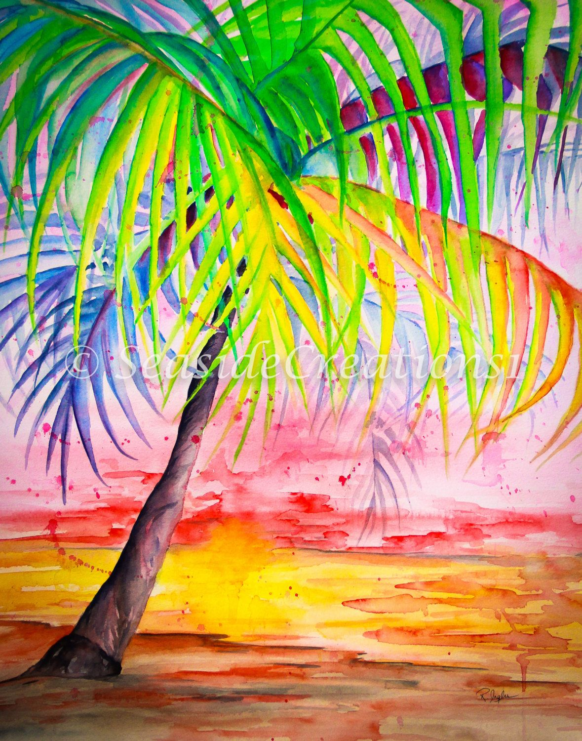 Tropical palm tree watercolor print colorful palm beach print beach house wall hanging Home goods palm beach gardens