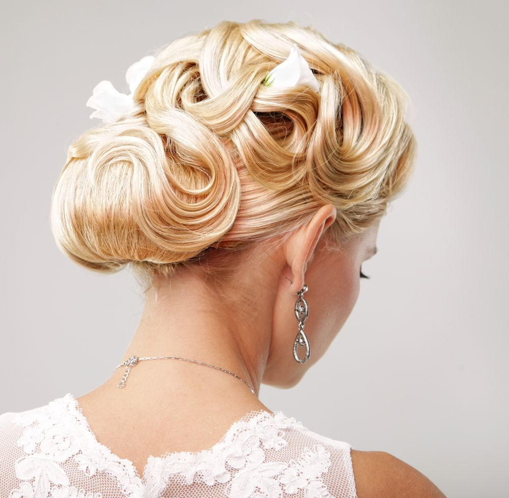 Bridal updo with roses and vintage curls senior portfolio