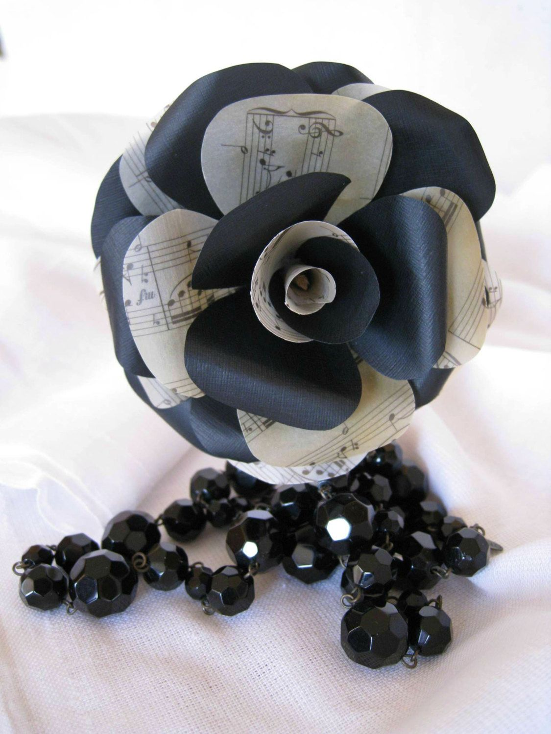 Set Of 6 Black Roses Music Sheet Paper Flowers Stem Roses Black
