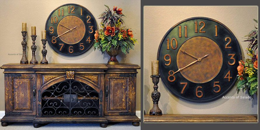 Tuscan Wall Decor Old Indies Oversized Clock