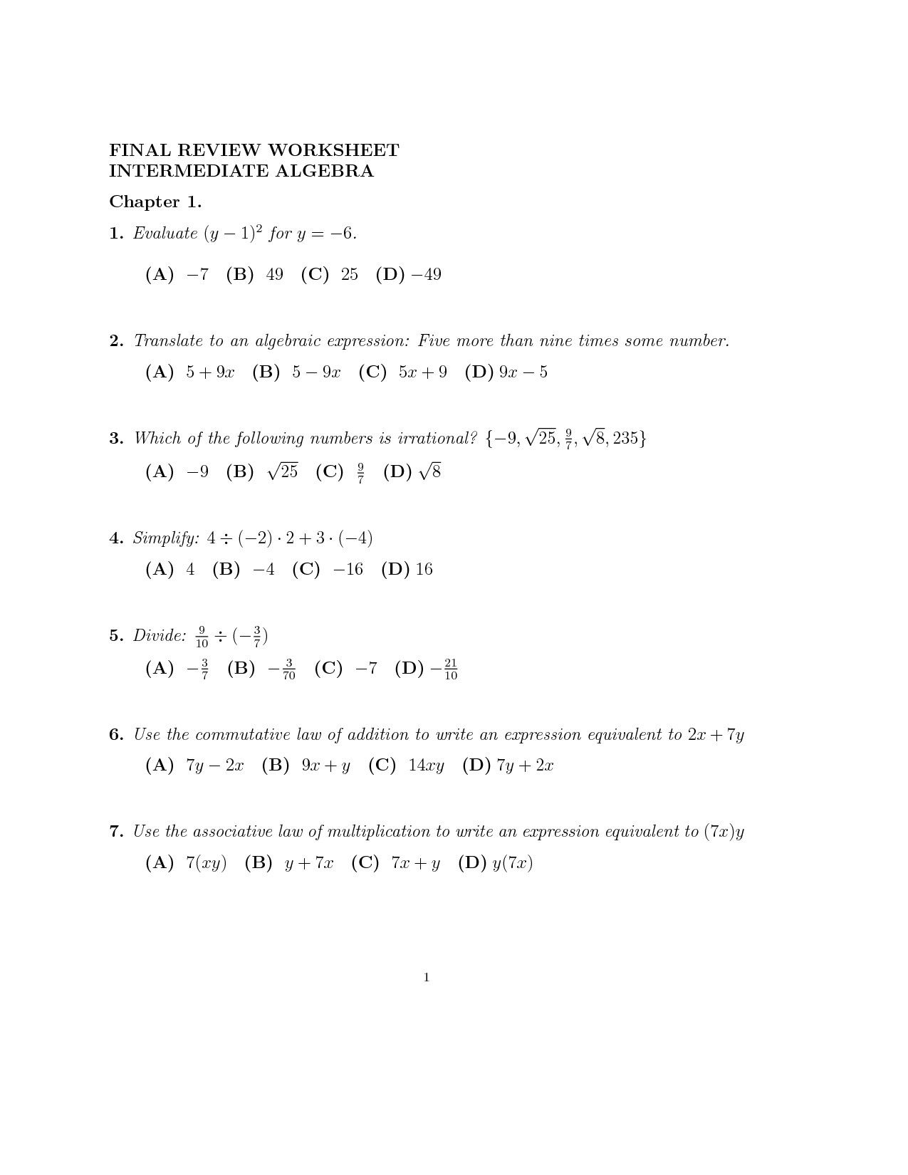 Subtracting Linear Expressions Worksheet   Printable Worksheets and  Activities for Teachers [ 1650 x 1275 Pixel ]