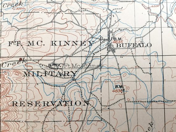 Antique Fort McKinney, Wyoming 1903 US Geological Survey ...