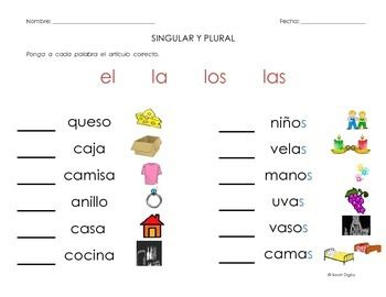 10 Spanish Singular And Plural Grammar Worksheets Leveled