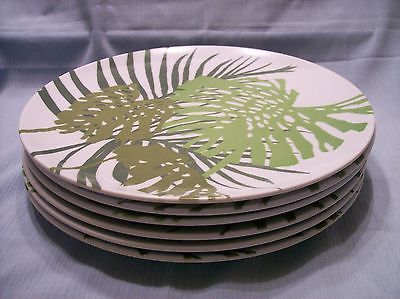 6 Vtg Texas Ware melmac melamine dinner plates tropical green palm trees fronds : palm tree dinner plates - pezcame.com