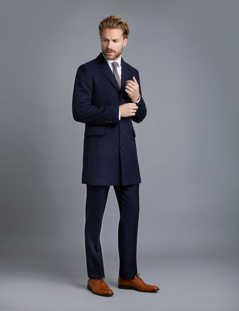 7b3e611cbeba Men s Navy Wool Overcoat - 100% Wool   Instyle Bespoke Tailors ...