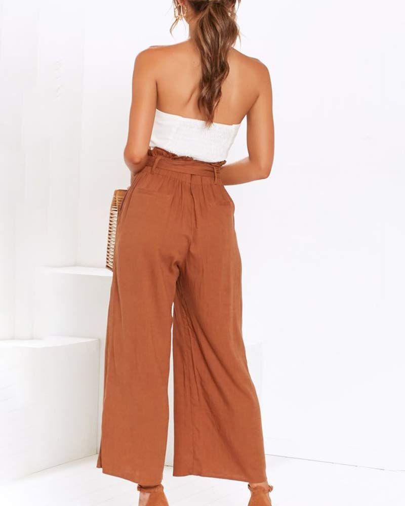YKARITIANNA Women Ladies Loose Striped Belt Casual Wide Leg Long Trouser Pants