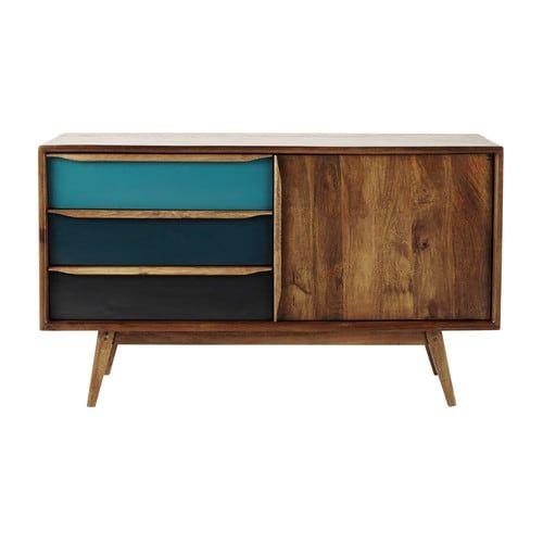 Anrichte im Vintage-Stil aus Mangoholz, blau, B127 Vintage stil