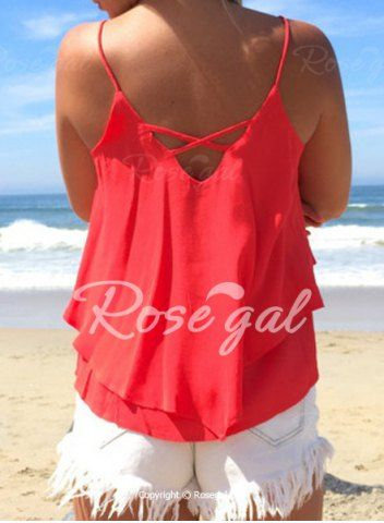 Casual Spaghetti Strap Solid Color Chiffon Tank Top For Women Vests & Tank Tops | RoseGal.com Mobile