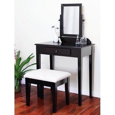 Makeup Vanity Set Table Stool Drawer, Espresso Wood Vanity Set