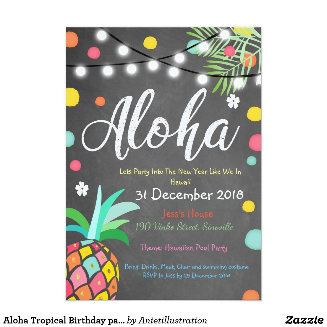 Aloha Tropical Birthday party invite Hawaii Luau | Zazzle.com #tropicalbirthdayparty