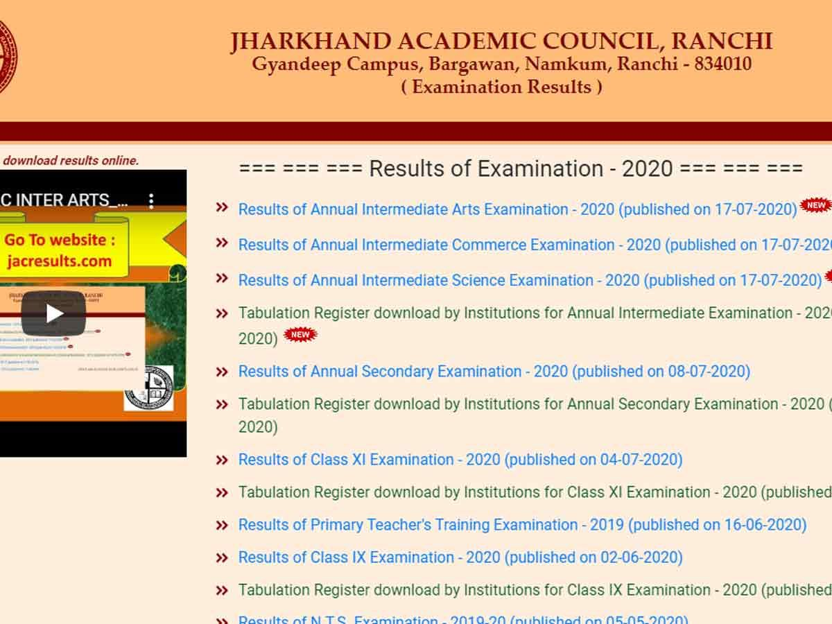 Jac class 12 result announced at jacjharkhandgovin in
