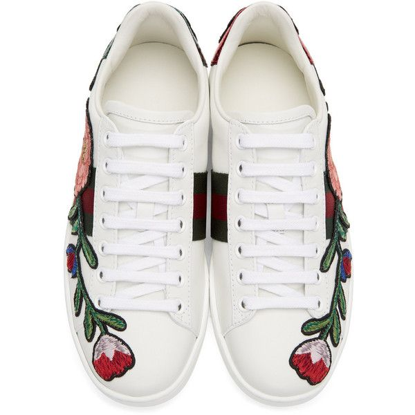 77c5d521ac5 Gucci White Floral and Bow Ace Sneakers ( 625) ❤ liked on Polyvore  featuring shoes