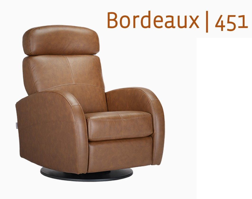 Dutailier Leather Glider Bordeaux 451 Swivel Recliner Rockers