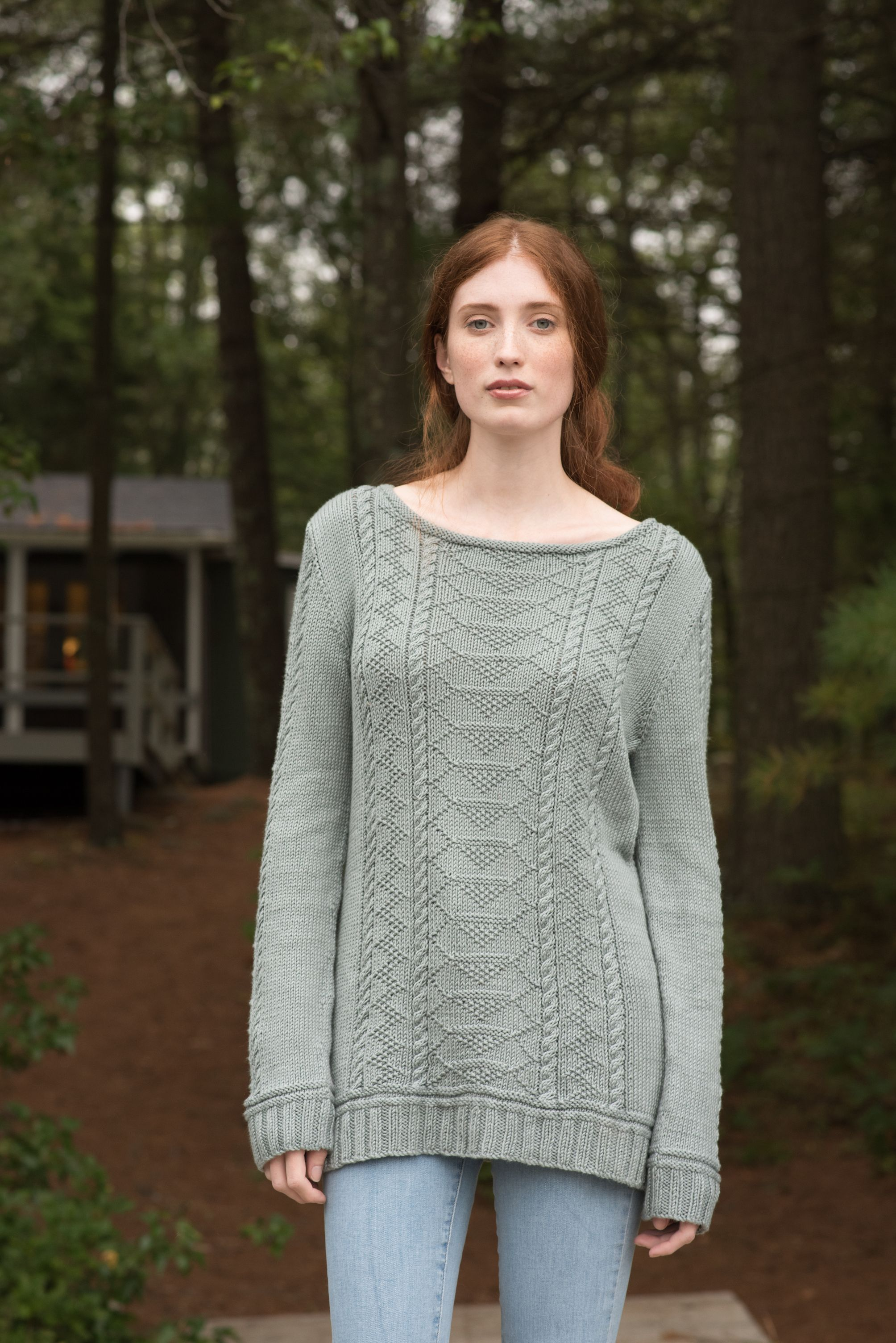 Carra,a gansey-inspired sweater knitting pattern, is knit in pieces ...
