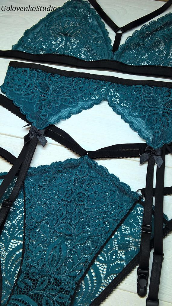 b19e1588dac Dark green garter belt lingerie set