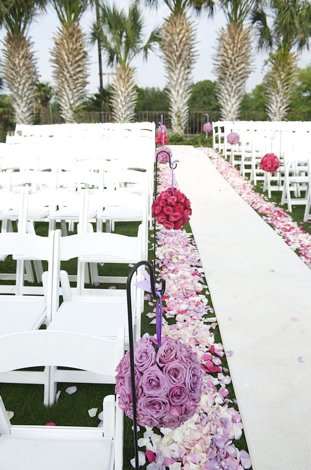 Pink And Purple Outdoor Ceremony Aisle Decor Photo Source Kim