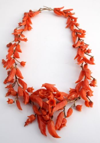 Antique-C-1810-Georgian-Victorian-14k-Gold-Carved-Salmon-Coral-Floral-Necklace