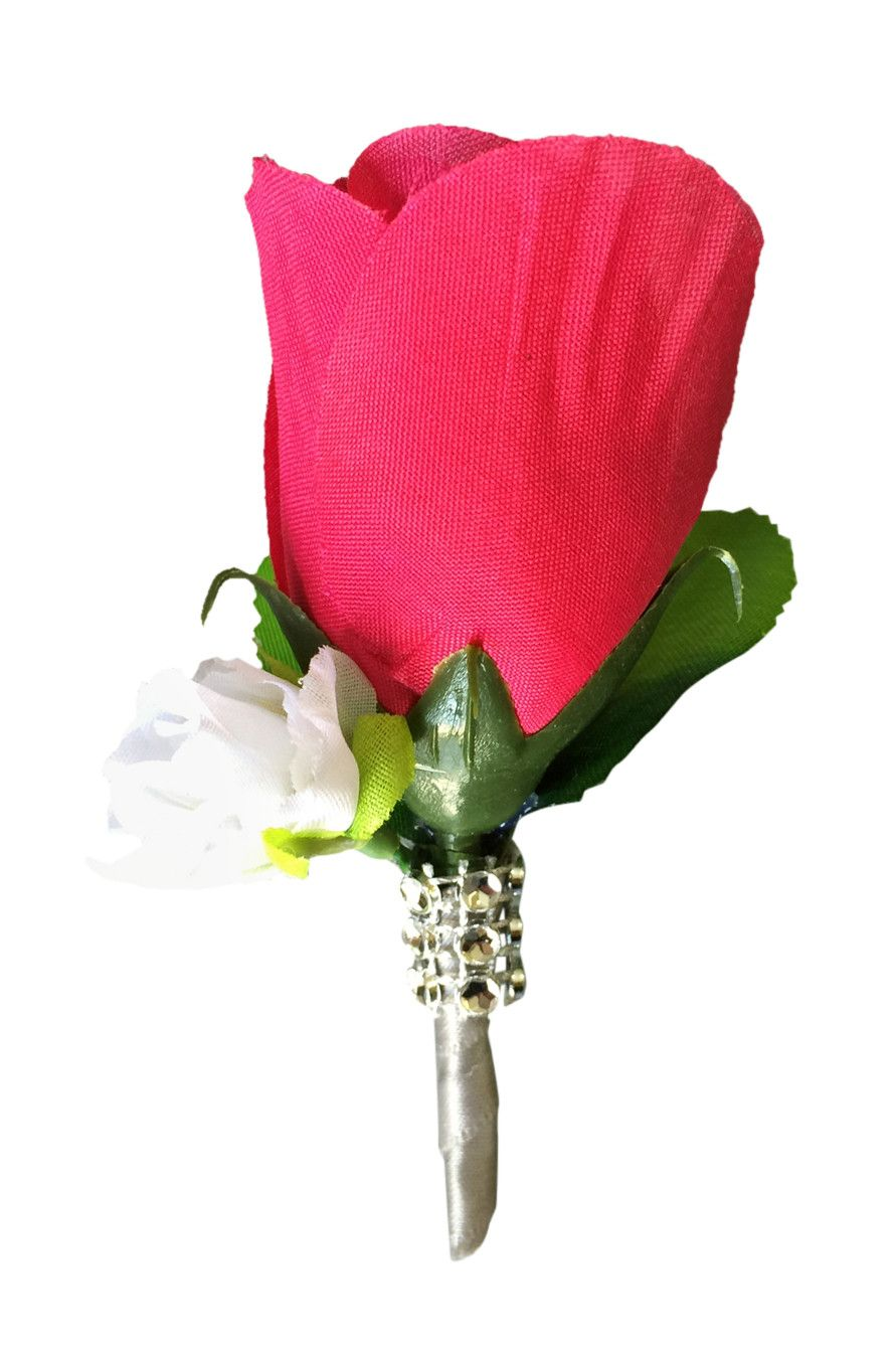Boutonnierehot pink rose bud with mini white rose silk flower pin boutonnierehot pink rose bud with mini white rose silk flower pin included mightylinksfo Image collections