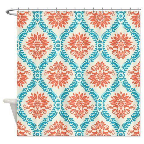 orange and navy shower curtain. Best Tangerine Shower Curtain  Orange Bathroom Decor