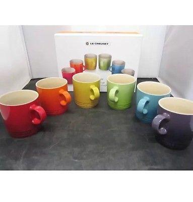 Le Creuset Set Of 6 Rainbow Mugs Rare Not Espresso 12oz New In Box Insured Mugs Modern Mugs Rainbow Kitchen