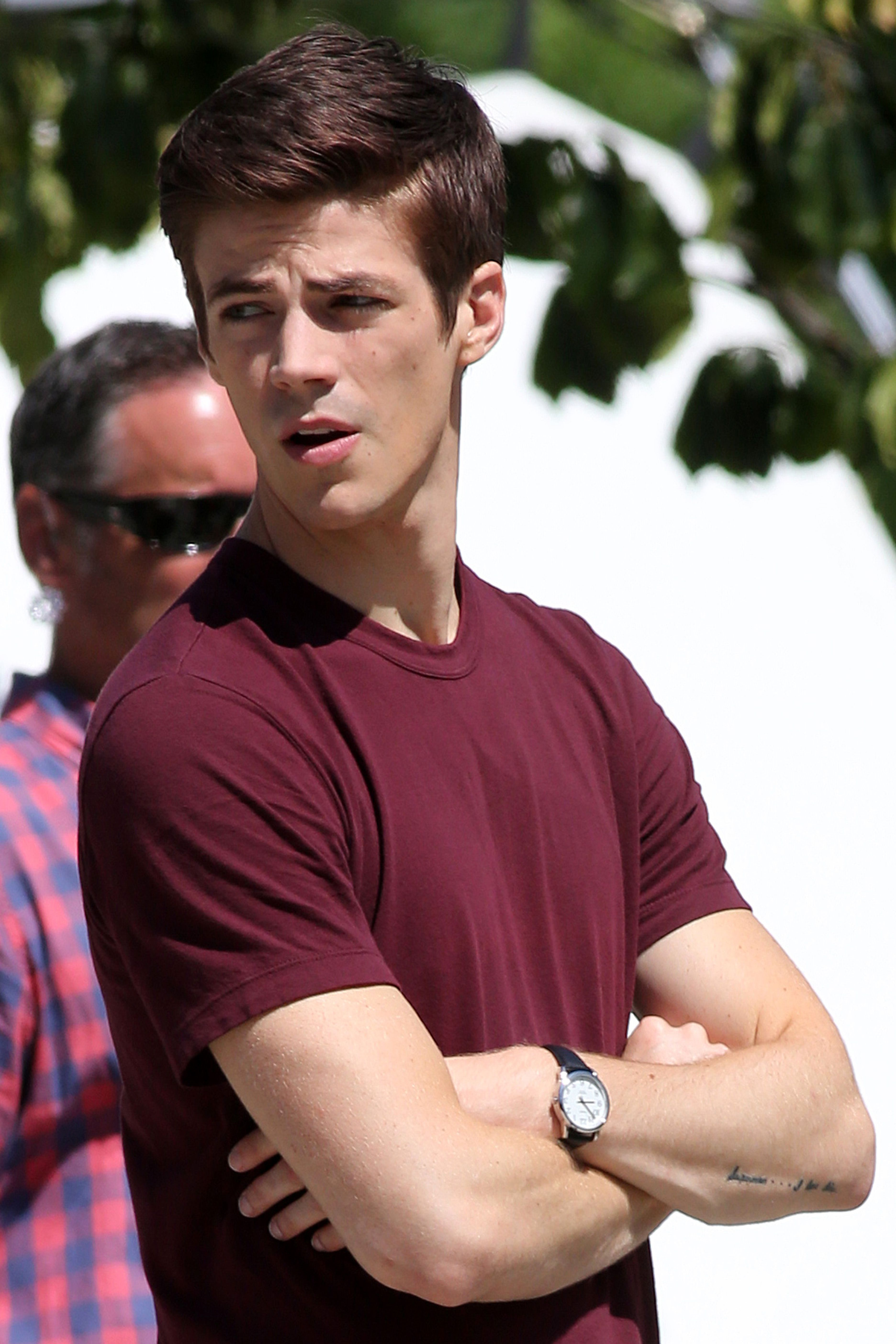 Grant gustin mcm comics pinterest grant gustin arrow and the flash shoots episode 4 in downtown vancouver canada with an arrow crossover where grant gustin and emily bett rickards meet at a park m4hsunfo Image collections