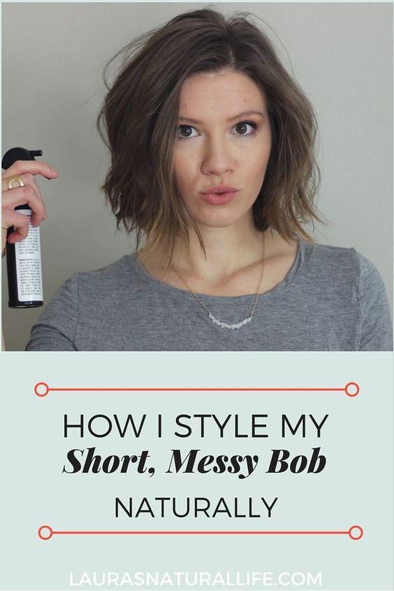 Short Messy Bob How To Style A Short Messy Bob Using All Natural Organic Hair Messy Short Hair Short Hair Styles Messy Bob Hairstyles