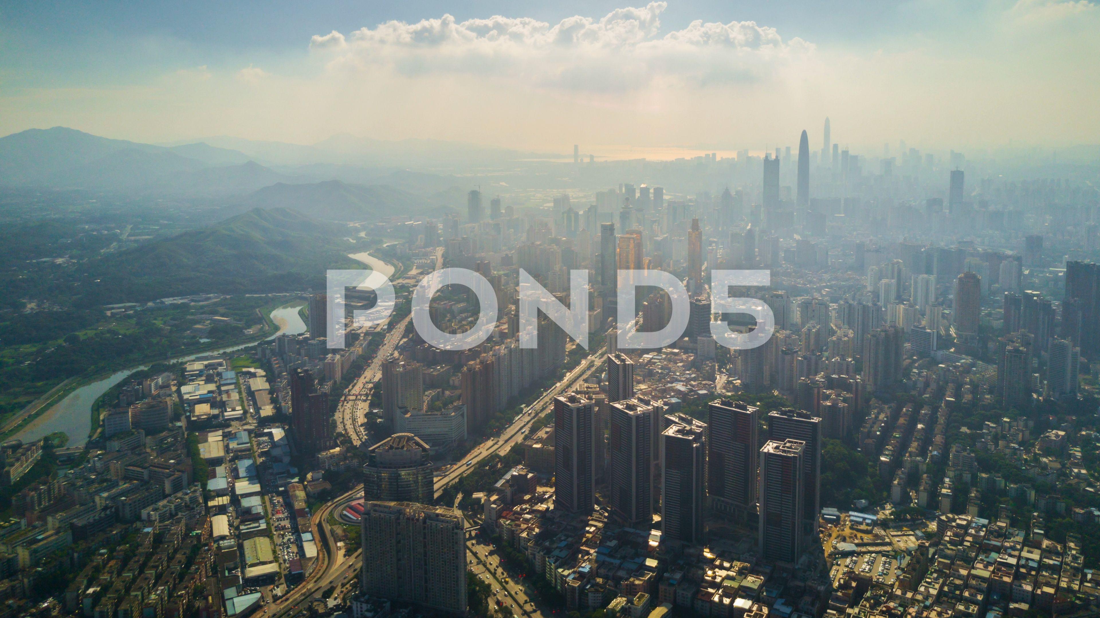 Day Shenzhen Hongkong Border Riverside Aerial Panorama 4k