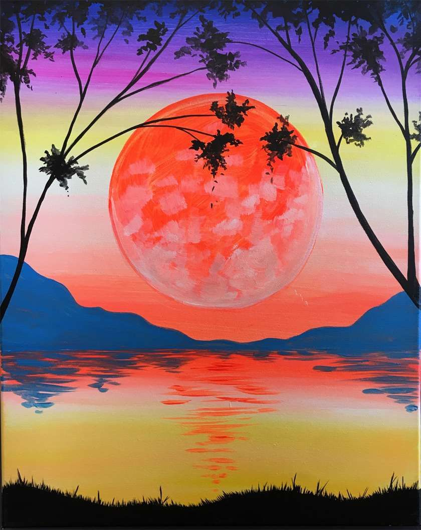 Black Light Party Paint This Solstice Sunset Painting In Our Starry Night Room Under Black Light For A Whole New Per Sunrise Painting Paint And Sip Painting