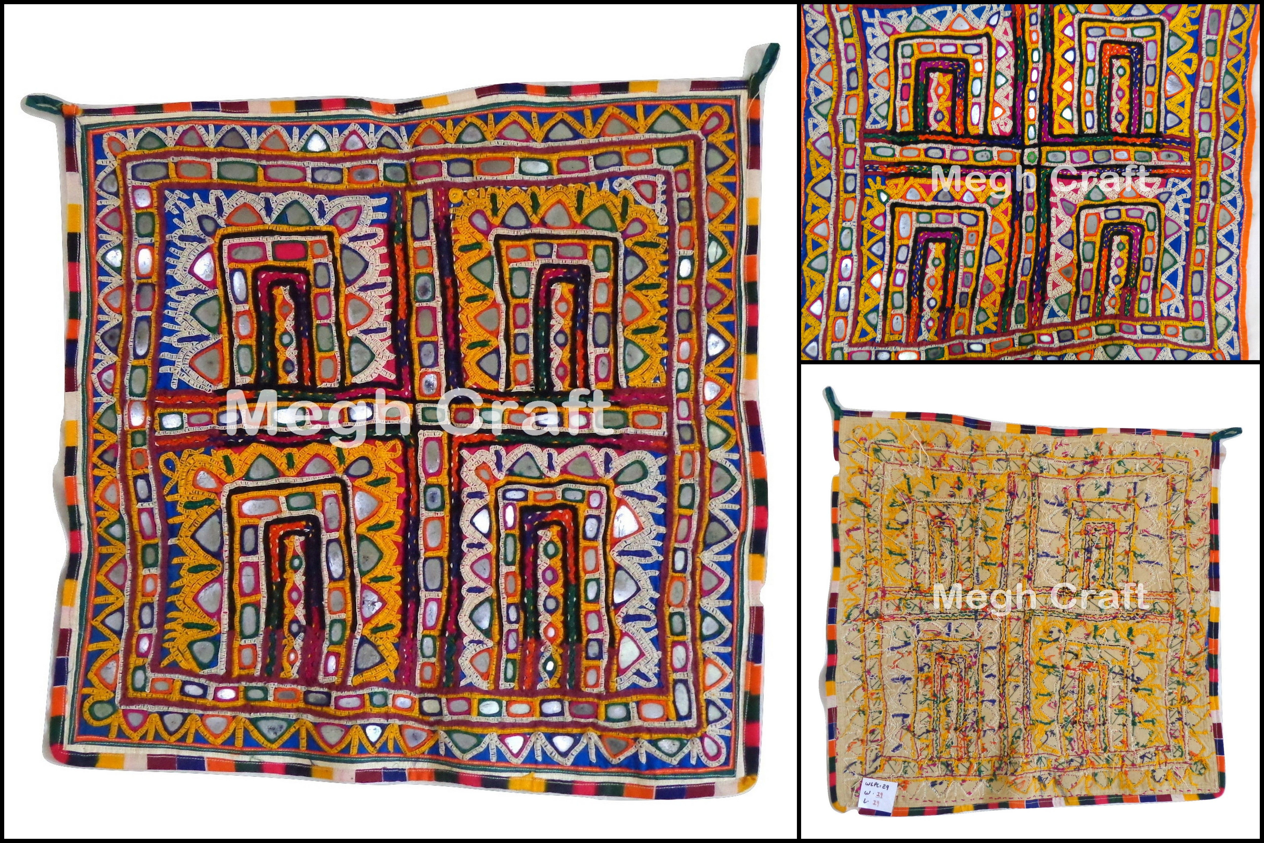 Tribal Hand Embroidered Chakla Embroidery Fabric Hanging Wall Art Hand Embroidered