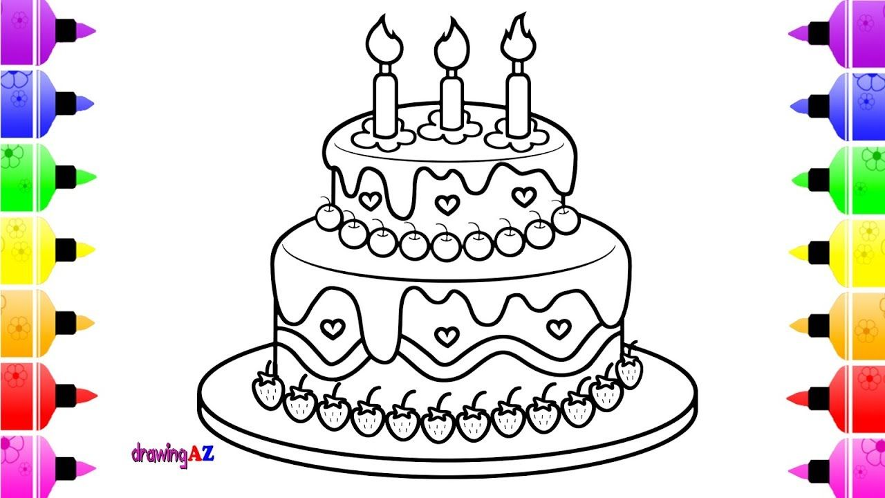 How to draw a birthday cake coloring page for kids coloring book