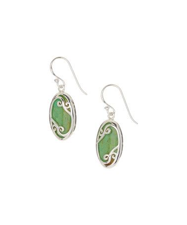 Look what I found on #zulily! Green Turquoise & Sterling Silver Filigree Drop Earrings #zulilyfinds