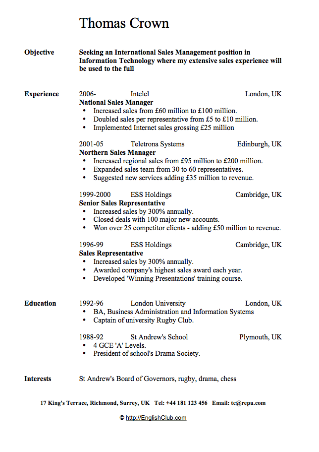 CvResume  Sales Manager  Work    Sample Resume And