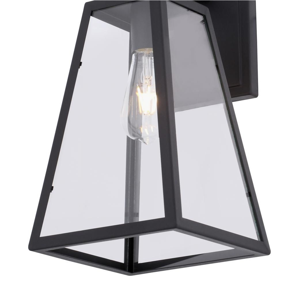 Home Decorators Collection Colonade Collection 1 Light Sand Black Outdoor Wall Lantern Sconce With Clear Glass 17702 The Home Depot In 2020 Outdoor Wall Lantern Outdoor Walls Exterior Light Fixtures