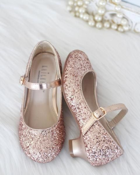 Flower girl shoes, Rose gold shoes