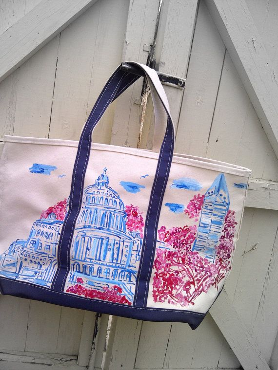 Washington DC Painted Tote bag. A smaller bag could be AWESOME for a wedding gift to bridesmaids if printed.