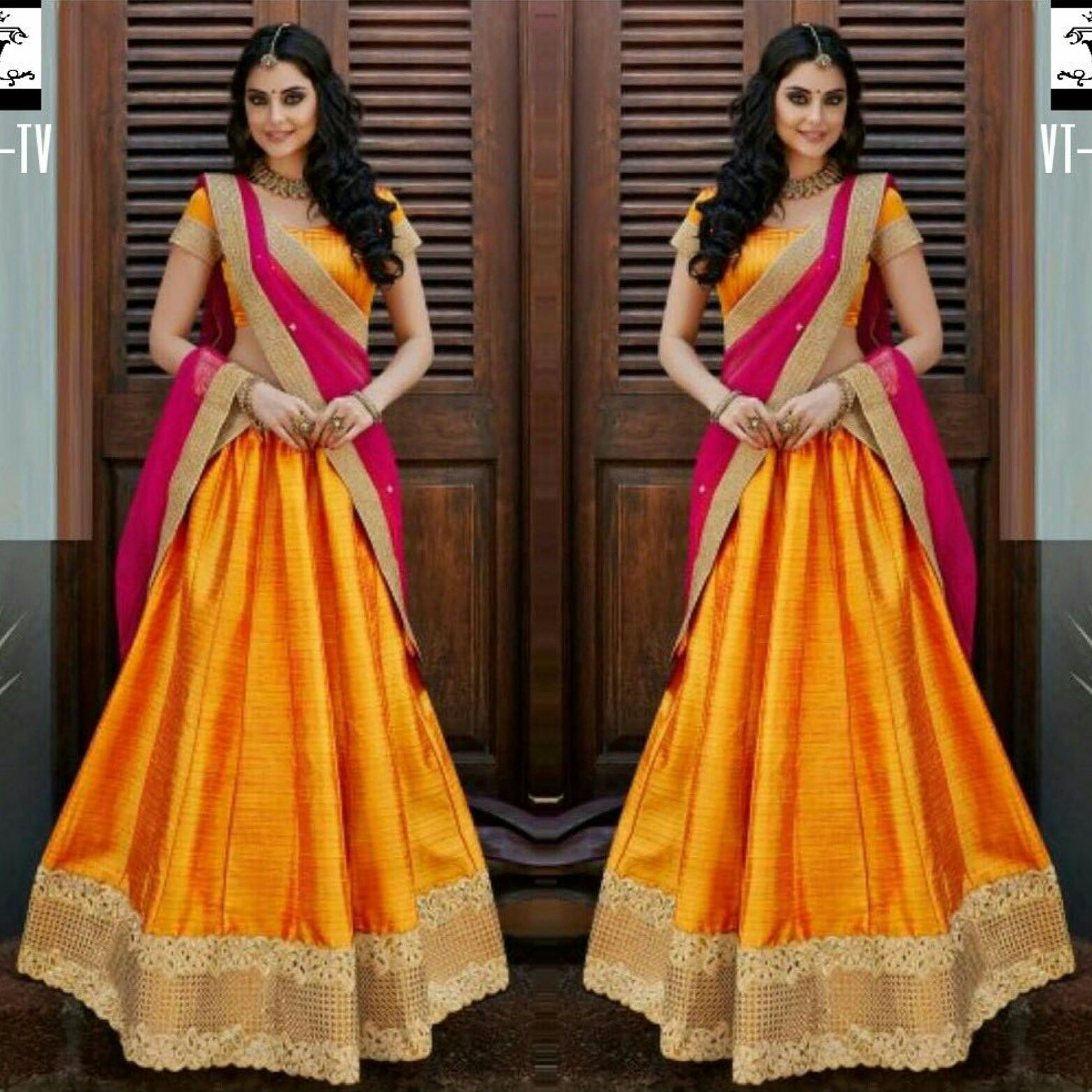 Shades of colors Lehenga Banglori Blouse Banglori Dupatta Net
