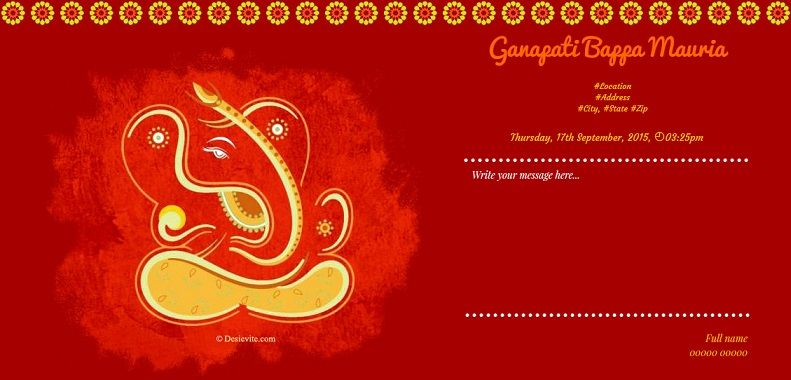 Ganpati Invitation Card Cards Online Invitations Unique Invites Happy