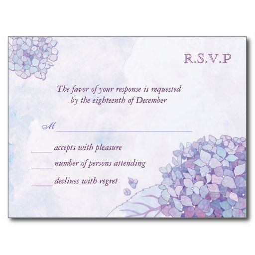 Lavender Hydrangeas Wedding RSVP Cards (4.25x5.6) Post Card