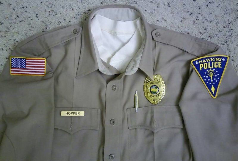 My Chief Jim Hopper Hawkins Police shirt  The flag patch is