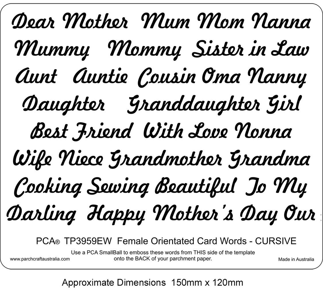 pca easy embossing template female orientated words cursive this