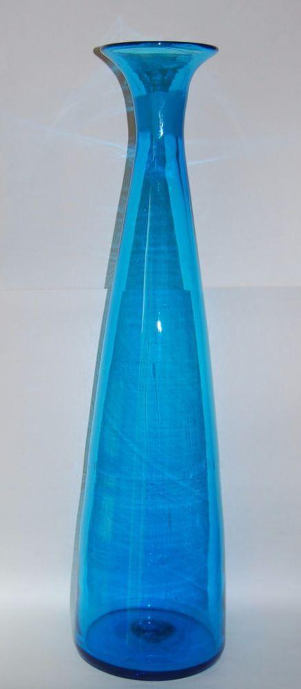 Blenko Art Glass Husted Floor Vase Decanter 29 Tall Vintage Blue