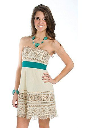 Flying Tomato Ladies Cream Lace Embroidered Sweetheart Neckline Strapless Dress