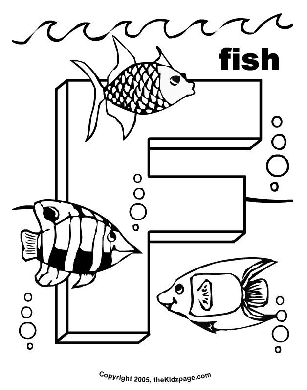 F is for Fish - Free Coloring Pages for Kids - Printable Colouring ...